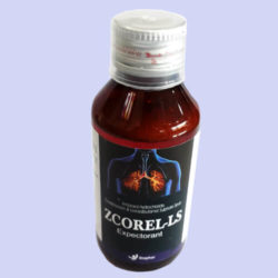 ZCOREL-LS=Ambroxol Hydrochloride 30 mg, Guaiphenesin 50 mg & Levosalbutamol Sulphate 1 mg (100 ml Syrup Bottle) (Anti Cough)