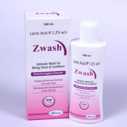 ZWASH =LACTIC ACID 1.2% (VAGINAL WASH) 100 ml Lotion Bottle (feminine hygiene cleanser)