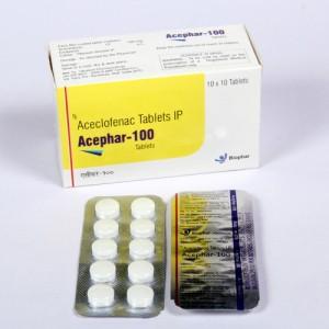 ACEPHAR-100=Aceclofenac 100 mg (TAblets) 10x10 Blister (anti-inflammatory)