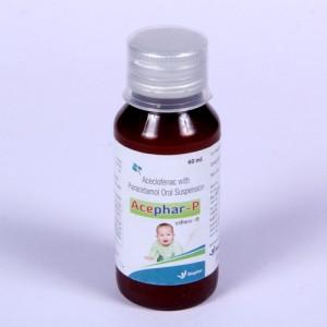ACEPHAR-P=Aceclofenac 50 mg & Paracetamol  125 mg (Suspension) 60ml (BOTTLE (anti-inflammatory  analgesic)