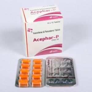 ACEPHAR-P = Aceclofenac 100 mg + Paracetamol 325 mg (Tablets) 10x10 Blister (anti-inflammatory analgesic)