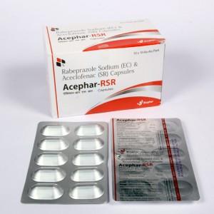 ACEPHAR-RSR = Aceclofenac 200mg + Rabeprazole sodium  20mg (Capsules ) 10x10 Alu-Alu (ANTI-INFLAMMATORY)