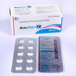 ACEPHAR-T4 = Aceclofenac I.P. 100mg + Thiocolchicoside I.P. 4mg ( Tablets) 10x10 Alu-Alu (anti-spasmodic)