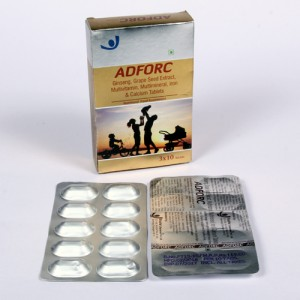 ADFORC CAP = Ginseng 42.57 mg, Grape Seed extract 18.65 mg, Lysine 15 mg, Multivitamin & Multiminerals (Capsules ) 3x10 Alu-Alu (NUTRACEUTICALS)