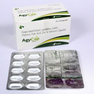 AGYCAP = Grapeseed Extracts 25mg + Lycopene 2mg + Lutein 3mg + Vitamin A 5000IU  Folic Acid + Zinc Sulphate Monohydrate 23mcg + Selenium Dioxide75mc (Capsules ) 10x10 Alu-Alu (NUTRACEUTICALS)