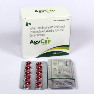 AGYCAP = Grapeseed Extracts 25mg + Lycopene 2mg + Lutein 3mg + Vitamin A 5000IU  Folic Acid + Zinc Sulphate Monohydrate 23mcg + Selenium Dioxide75mc (Softgel Capsules ) 10x10 Blister  (NUTRACEUTICALS)