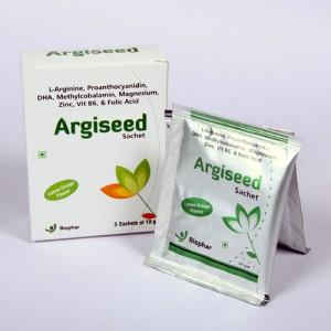 ARGISEED SACHETS=L-Arginine, Proanthocyanidin, DHA, Methylcobalamin, Magnesium, Zinc, Vit B6  & Folic Acid (Sachets Power) 5x 10gm (nutraceuticals)
